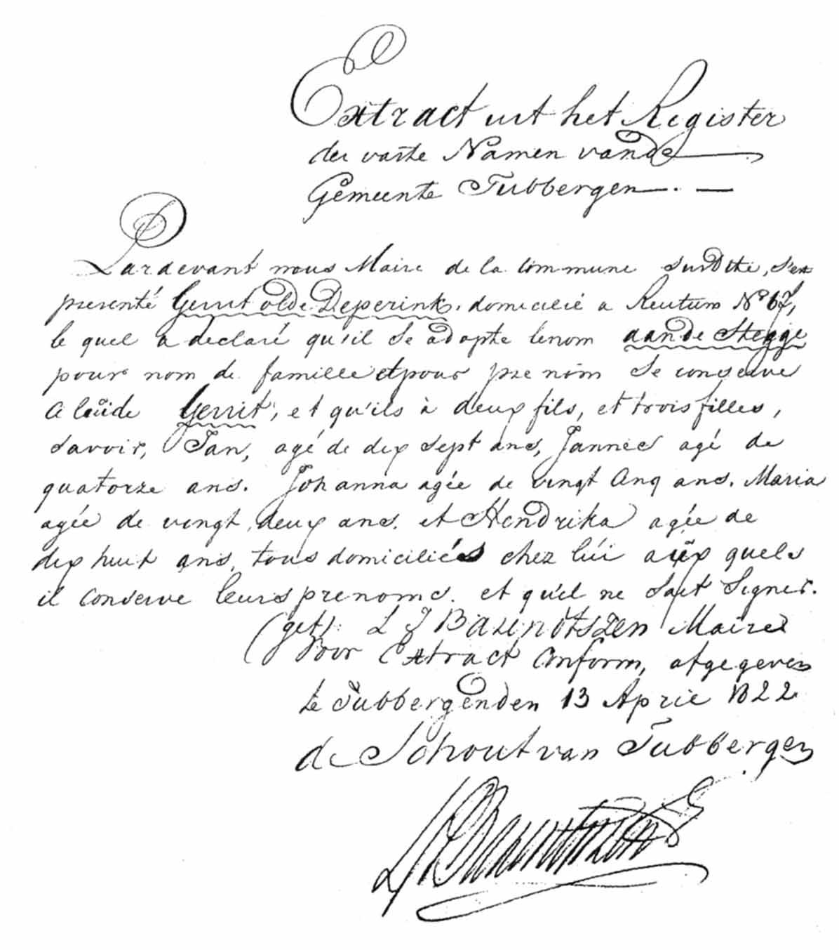 Naamsaanneming in 1812