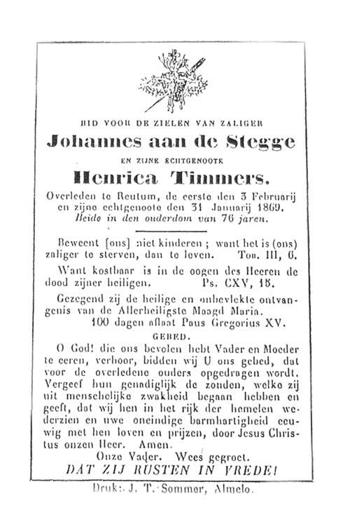 Bidprentje Johannes aan de Stegge en Henrica Timmers