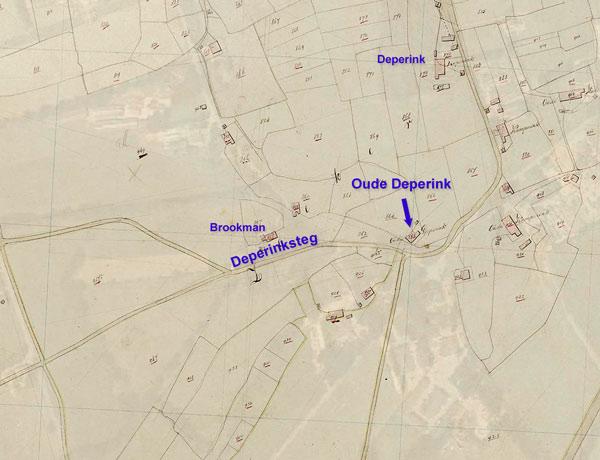 Kaart van erve oude Deperink, Deperink, en Deperinksteg