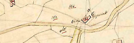 Erve oude Deperink aan de Deperinksteg (weg die van links naar rechts loopt) in Reutum, op een kaart van 1832