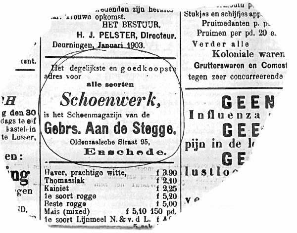 Advertentie van de gebroeders aan de Stegge uit 1903