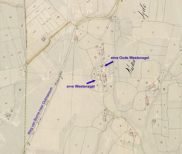 Erve Oude Westenagel en erve Westenagel op de kaart van 1832